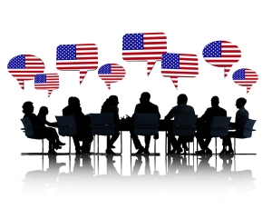 Business People Silhouettes With North American Flag Speech Bubb