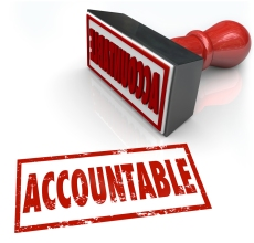 Accountable Stamp in red ink assigning credit or blame to the pe
